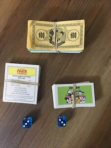 DISNEY MONOPOLY MONEY CARDS AND DICE USED