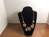 Vintage Gold-tone Pink Flowers Faux Pearl & Rhinestone Center Necklace Lot 17