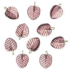 Shiny Purple Glass Leaf Charm Pendants 16x12mm Pack of 10 (B65/3)