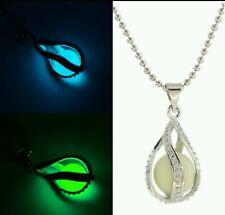 Mode Chic Little Mermaid's Teardrop Glow in Dark Pendant Glowing Halskette NEU