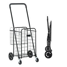 Portable Folding Shopping Cart Utility Trolley Portable For Grocery Travel Black