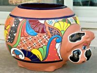 "Mexican Talavera Pottery 14"" Planter Cow Pot Art Terracotta Clay Large Animal"