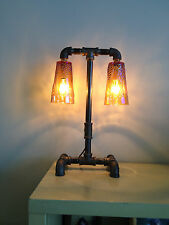 Double Amber Carnival Glass Insulator Black Pipe Table Lamp Steampunk