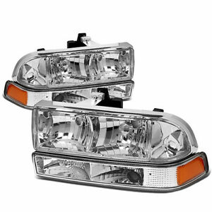 For 98-04 Chevy S-10 Pick Up Chrome Housing Headlights Turn Signals Upgrade Look