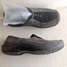 Ladies Black Leather Keen Clogs Slip On Shoes 8 38.5