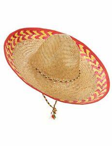 Mexikanischer Stroh-Hut Sombrero beige-rot - Cod.148422