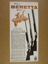 1960 Beretta Silver Pigeon Hawk & Snipe Shotguns duck art vintage print Ad