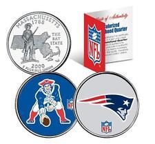 NEW ENGLAND PATRIOTS *Retro & Team Logo* Colorized MA Quarters 2-Coin US Set NFL
