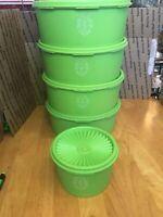 Vintage Tupperware Servalier Canister Lot of 5 Lime Green Apple 1204 + 1207
