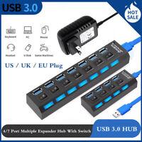 USB 3.0 4/7 Port Hub Aktiv mit Netzteil Verteiler USB Für windows PC Laptop