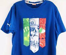 PUMA MEN LARGE ITALIA T-SHIRT FUTBOL SOCCER BLUE CASUAL COTTON FIGC