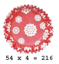 Culpitt 216 x SNOWFLAKE-RED 50mm Standard Cupcake Cup Cake Muffin Baking Cases