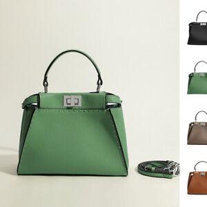 Trapezoid Real Leather Hand Stitch Tote Bag Shoulder Purse Crossbody Handbag