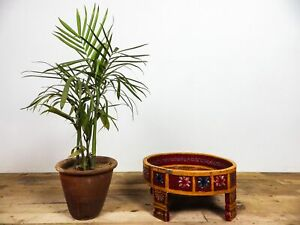 Vintage Indian Hand Painted Chakki Side Coffee Table Plant Stand Bowl MILL-1146