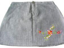 $10 SALE: BN Acid Wash Denim Floral Embroidery Skirt