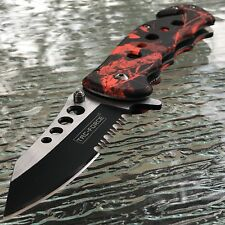 "7.75"" TAC FORCE SPRING ASSISTED TACTICAL RED CAMO FOLDING KNIFE BLADE POCKET NEW"