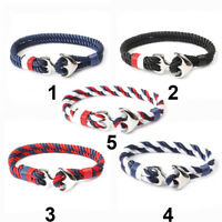 Mens 3mm Double Twist Rope Cord Anchor Clip Bracelet Choice of 5 Colours