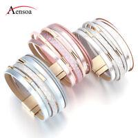 Fashion Women Silver Multi-layer Leather Bangle Charm Wrap Cuff Bracelet Jewelry