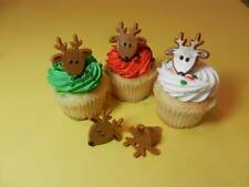 12 Reindeer Christmas Rings Cupcake Toppers Cake Pop  Decorations Party Favors