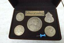 5 alte König Rama V Münze cu/ni Amulett in Schatulle echte Patina Thailand ~1970