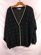 Womens Vintage Girls Scout Cardigan Sweater V-Neck Button Green  Plus Size 3X