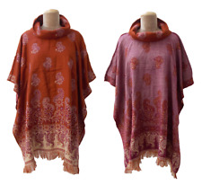 Reversible Autumn Winter Wool Poncho Cape Shawl Kaftan Jacket Size 10 12 14 16