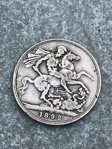 OLD VICTORIAN 1892 SILVER CROWN COIN