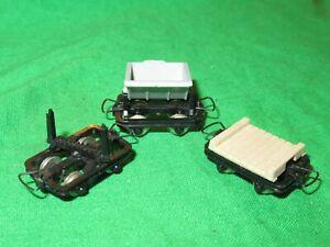 3 Jouef / Egger Bahn HOe 009 small wagons flat side tipper bolster good unboxed