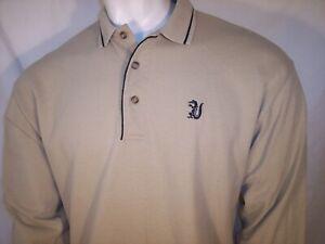 Outer Banks Medium Tan Thick Cotton Long Sleeve Golf Shirt Everglades Club Logo