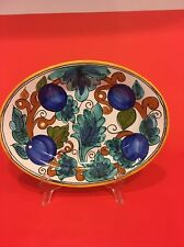 Vintage Collectors Oval Four Plums And Leaves Design Platter Wall Plate Display