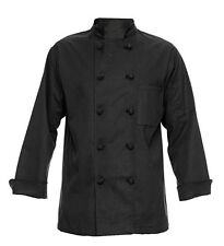 350 Chef Apparel 10 Knot Button Chef Coat   Black Size Large L NEW