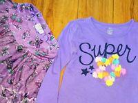 TCP Old Navy skirt short set shirt top purple flower girl 4T
