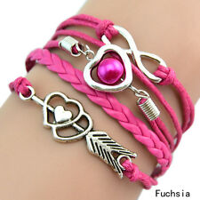 Infinity Love Heart Pearl Friendship Antique Silver Leather Charm Bracelet Hot N Fuchsia