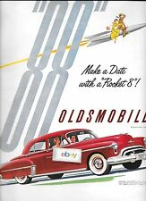"OLDSMOBILE 1950 ROCKET 88 RED SEDAN MAKE A DATE WITH A ROCKET 8 9.5"" X 13"" AD"