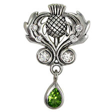 Sterling Silver Scottish Thistle Pendant Cubic Zirconia Peridot Scotland Jewelry