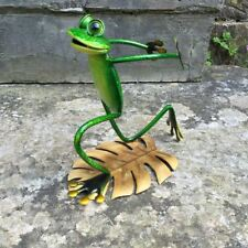 Cute & Bright Green Metal Frog Wine Bottle or Glass Holder - Kitchen Decor wi...