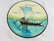 Plate Hand Painted With Portugal Boat Signed