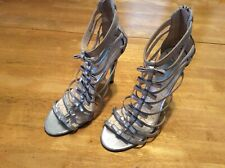 BETSY JOHNSON Silver Bow SHOES Caged  Sandals Stiletto heel Blue Sole size 8