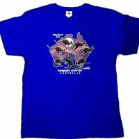 Adult Mens Australia Day Souvenir  T Shirt Royal Blue Aussie Tee Top Aboriginal