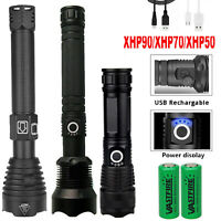 Ultra Bright 90000LM XHP50 XHP70 XHP90 LED 26650 Rechargeable Flashlight Torch