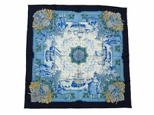 Authentic Excellent HERMES Scarf 100% Silk AZVLEJOS Navy Multi-Color 40569