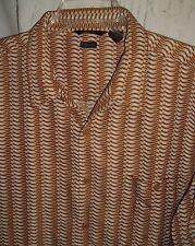 Mens H&H Hillard & Hanson Button Casual Suede Shirt XL Brown Tan Geometric retro
