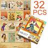 US 32Pcs Fashion Postcards Retro Album Poster Advertising Movie Travel Post Card