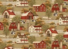 Plain & Simple Fabric - Country Barn & Farm House Scene - Henry Glass YARD