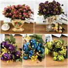 Fashion Artifical Tea Rose Flowers Silk Bouquet Wedding Garden Home Decor Craft