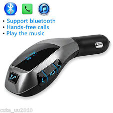 Handsfree Car Kit Bluetooth Wireless FM Transmitter Play TF Card Music To Stereo