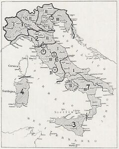 E2620 Italy - 1929 Map Period - Vintage Map