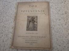 1926.Catalogue Oppermann 414 sur mort et danse des morts.Totentanze.Pfister