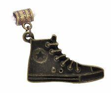 High Top Sneaker Star Shoe Bronze Tone Dangle Charm for European Bead Bracelets
