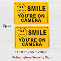 (2) SMILE YOU'RE ON CAMERA Yellow Business Security Sign CCTV Video  / +